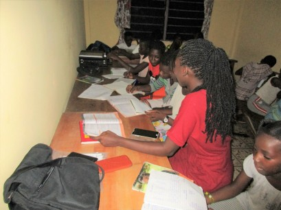 Students at study center with Rebecca