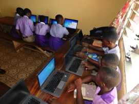 Students learning computers