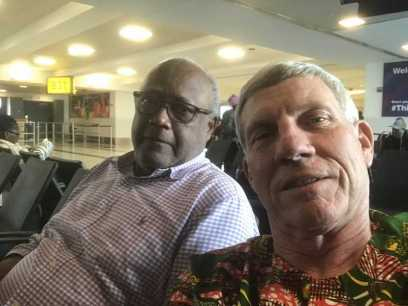 Fred and George at JFK on the way to Elmina
