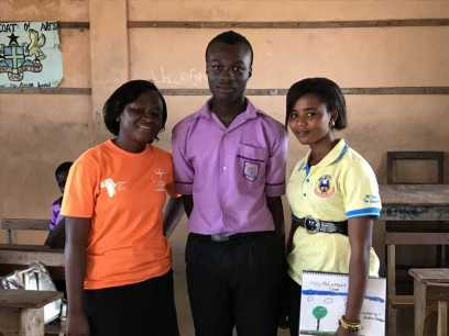 Godfred (scholarship winner) with Kate and Sharon